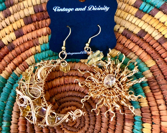 Luna & The Sun Citrine Earrings ~ Medium