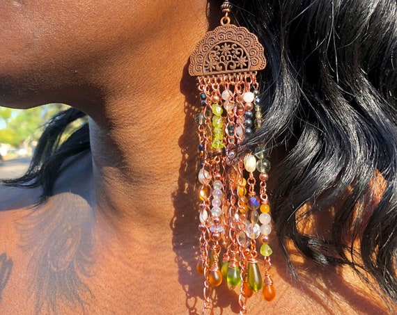 Bohemian Foliage Earrings / Abstract Bohemian Style Long Crystal Dangling Earrings