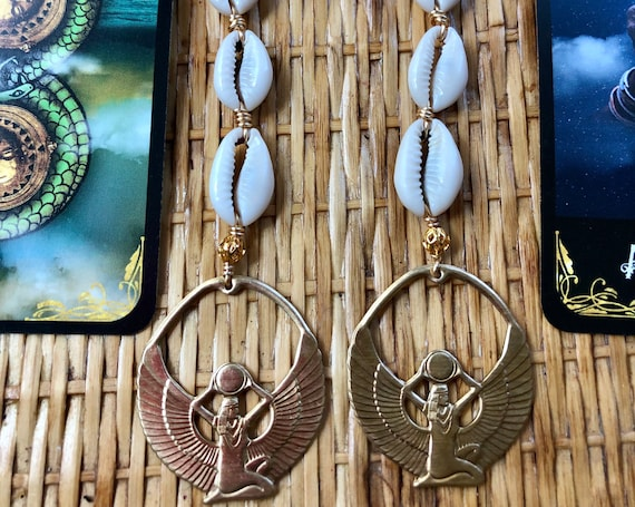 Brass Isis Cowrie Shell Dangle Statement Earrings