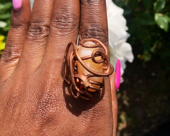 Copper Wire Wrapped Pink Carnelian Statement Ring Size 8 / Sacral Chakra Balancing Wearable At