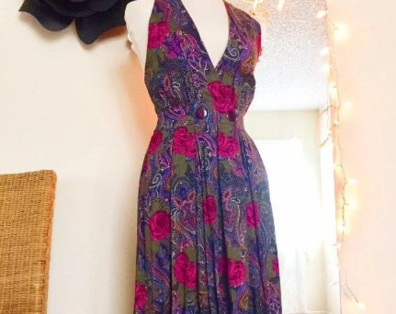 Fuchsia Pink and Purple Floral Sleeveless Full Length Lined 90's Dress