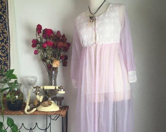Pastel Purple/Lavender/Liliac Long Vintage Dressing Robe