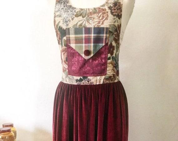 Vintage Cream and Burgundy Handmade Tapestry and Velvet Dress