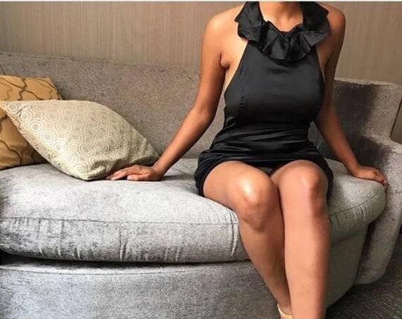 Vintage Satiny Halter Asymmetrical Black Cocktail Dress - Small