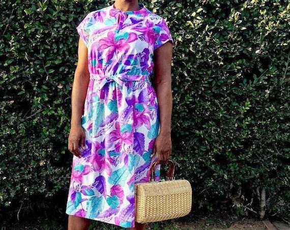Vintage White Purple and Pink Floral Dress - Medium