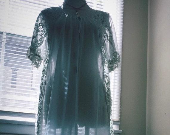 Pastel Baby Blue / Long Vintage Dressing Robe