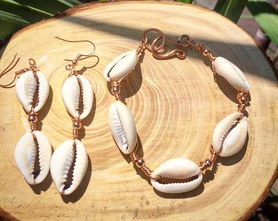 Goddess Abundance Cowrie Shell Earring & Bracelet Set