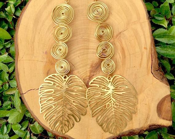 Swirl Tier Gold Wire Wrapped Dangle Drop Monstera Earrings