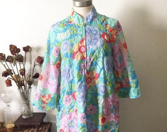 Vintage 1970s size medium wild child floral bright print Coverall