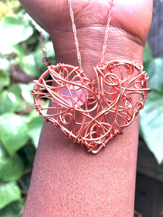 Love is Beautiful/ Copper Wire Wrapped Rose Quartz Heart Statement Necklace