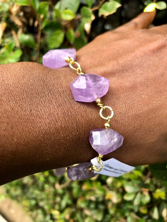 Gold Amethyst Cluster Chunk Bracelet / Chunky Amethyst Bracelet / Gold Amethyst Chunk Bracelet / Feminine Divine Wearable Art