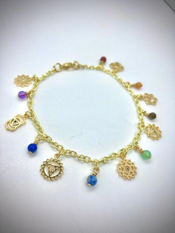 Gold 7 Chakra Charm Anklet / Gold Chakra Anklet / Chakra Balancing Jewelry / Gold Filled Chakra Charm