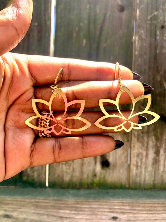 Delicate and Dainty Brass Lotus Flower Earrings / Lotus Flower Earrings / Flower Earrings / Lotus Flower Statement Earrings