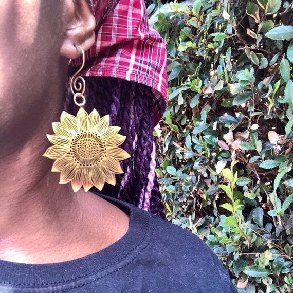 Large Brass SunFlower Earrings Spiral Ear Design