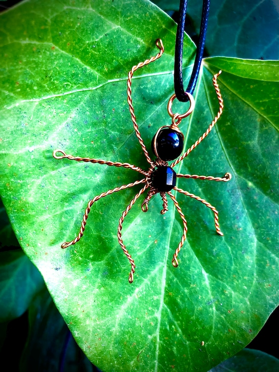 Copper Wire Wrapped Spider Necklace - Black Obsidian and Onyx