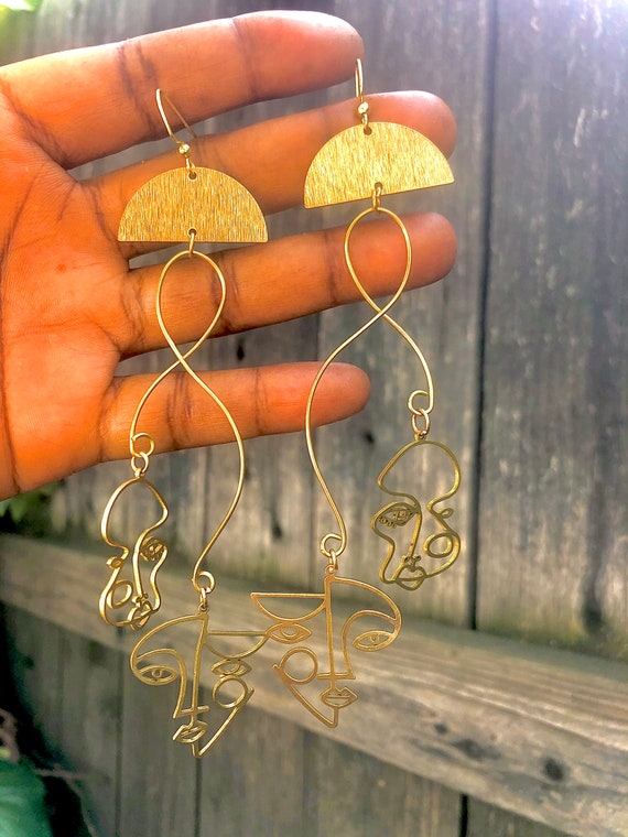 """Changing Faces ~ Brass Abstract """"Faces of Me"""" Earrings"""