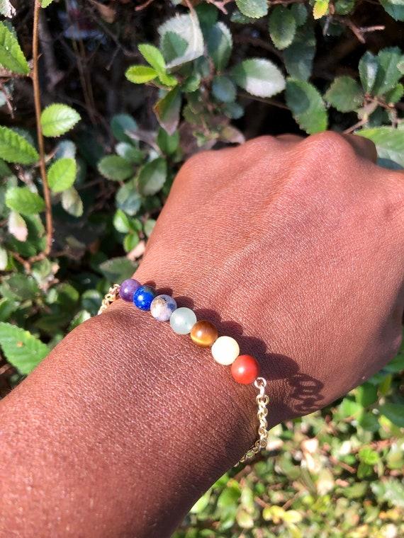 7 Chakra Gold Bar Bracelet - Feminine Divine Wearable Art