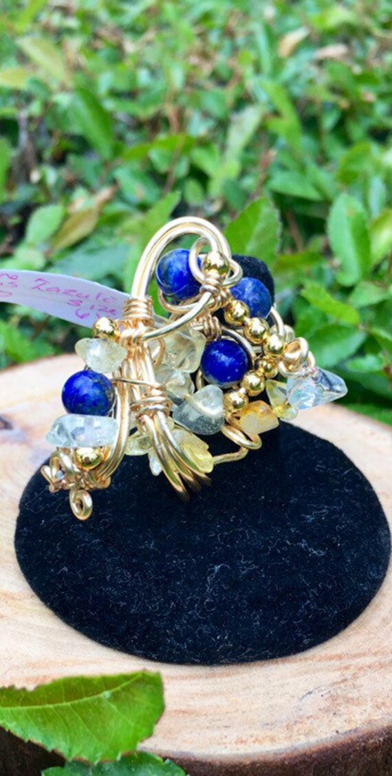 Citrine and Lapis Lazuli Gold Wire Wrapped Galaxy Statement Ring