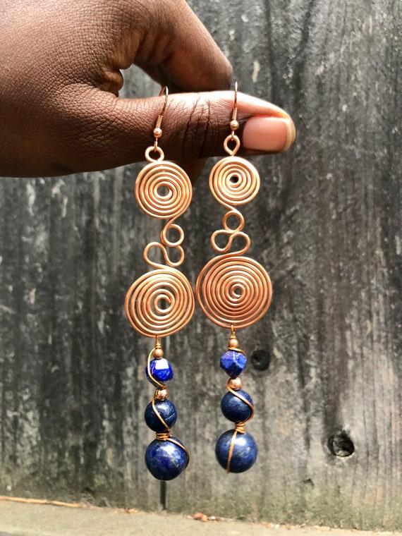 Copper & Lapis Lazuli Spiral Drop Earrings