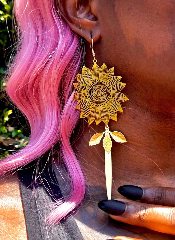 Large Brass Sunflower Earrings / Sun Flower Earrings / Flower Earrings / Sunflower Statement Earrings