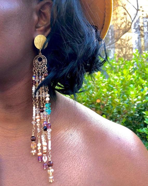 A Gypsy's Vision / Bohemian Style Long Crystal Dangling Earrings