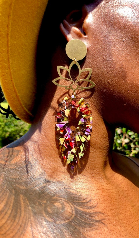 Rebirth into Beauty - Lotus Flower Marquise  Statement Earrings