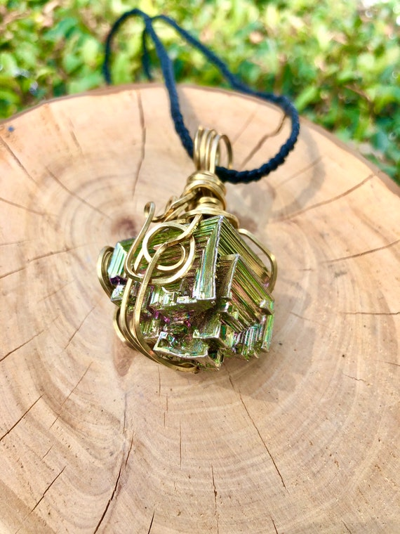 Goldtone Wire Wrapped Bismuth Necklace