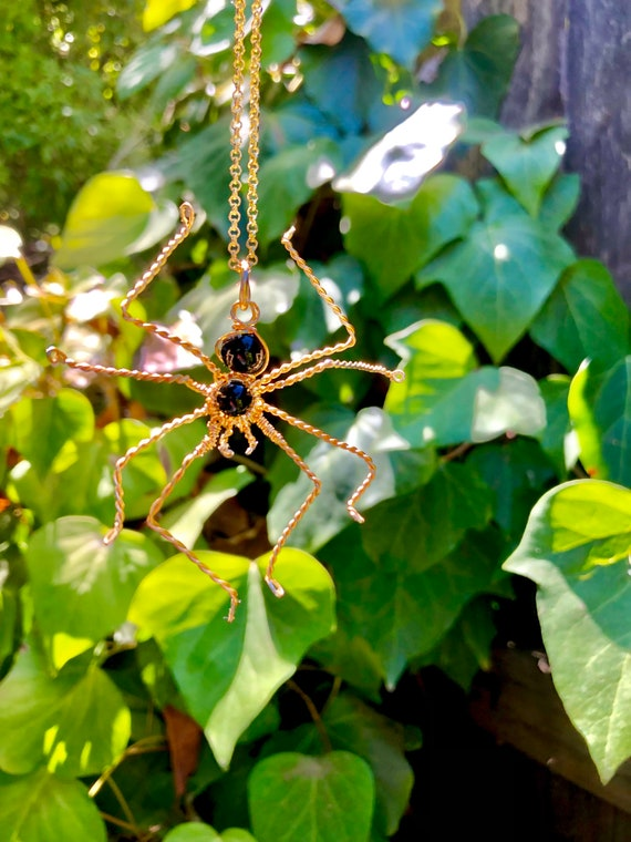 Gold Wire Wrapped Spider Necklace - Black Onyx