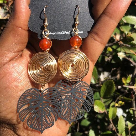 Swirl Gold Wire Wrapped Black Monstera Earrings