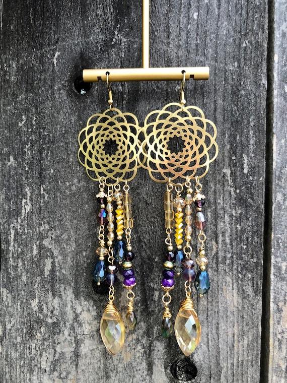 Gypsy Moondust Earrings / Bohemian Style Long Crystal Dangling Earrings Active