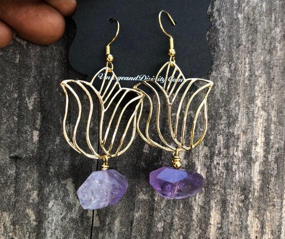 Give Sis Her Flowers Earrings / Gold Tulip & Amethyst Earrings