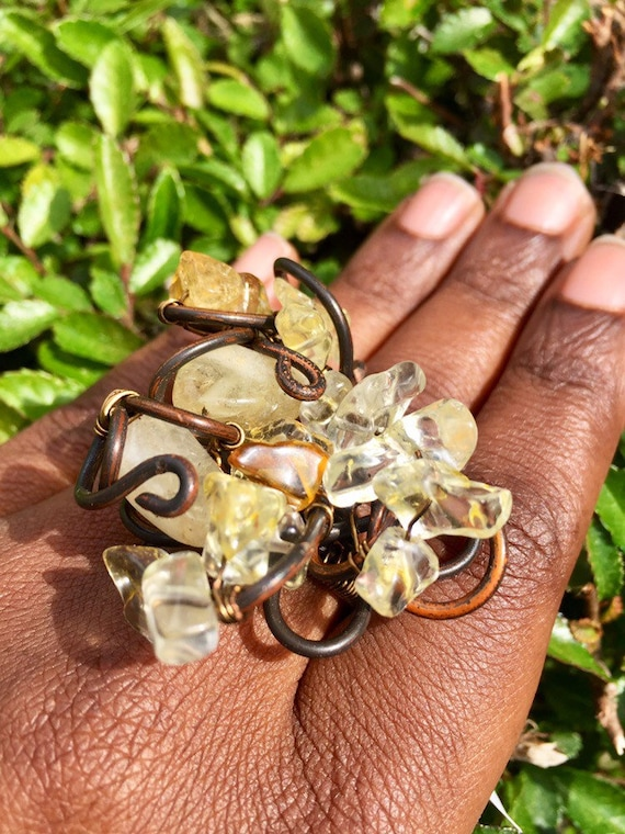 Antique Copper Wire Wrapped Citrine Crystal Cluster Ring / Positive Vibration Energy Ring
