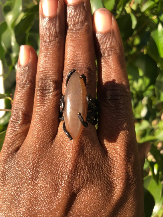 Moonstone Oxidized Brass Statement Ring Size 7