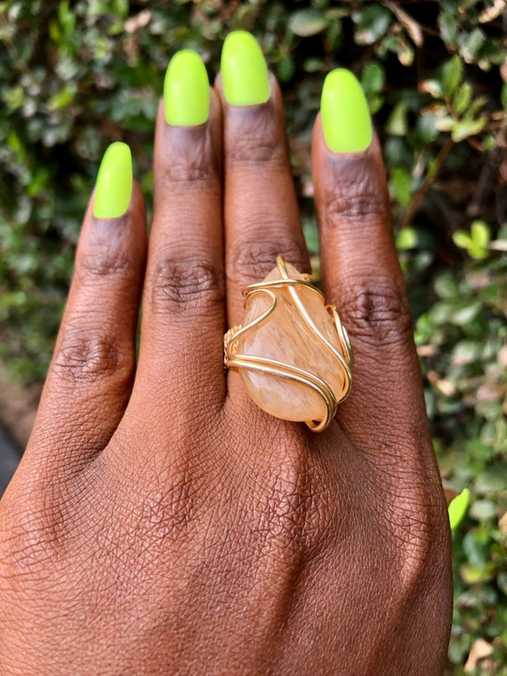 Sweet as Honey ~ Queen Bee Crackle Quartz Wire Wrapped Ring / Size 7 1/2