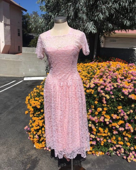 Vintage Pink Lace Dress - Small