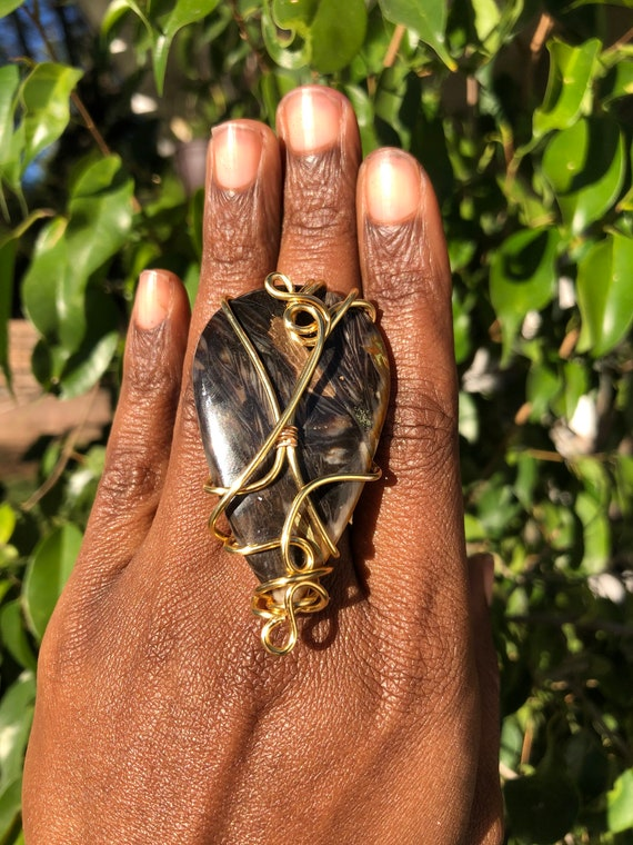 Gold Wire Wrapped Feather Agate Gemstone Statement Ring Size 6