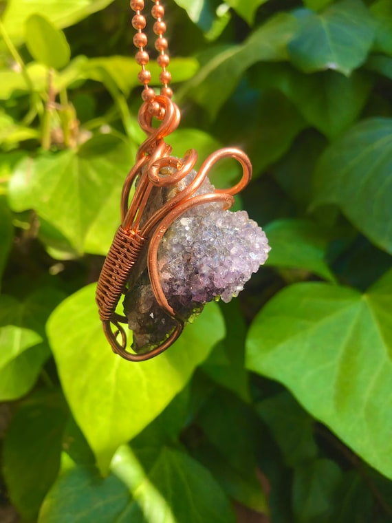 Medium Amethyst Cluster Copper Wire Wrapped Necklace / Crown Chakra Balancing Wearable Art