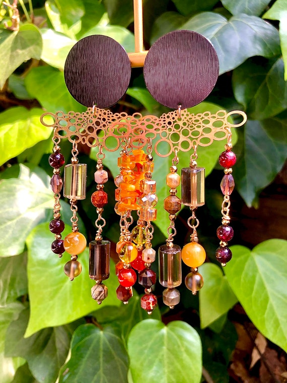 Gypsy's in The Palace Earrings / Abstract Bohemian Style Long Crystal Dangling Earrings