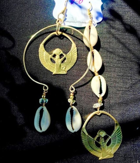 Mismatched Gold Isis Cowrie Shell Dangle Statement Earrings - Feminine Divine Wearable Art