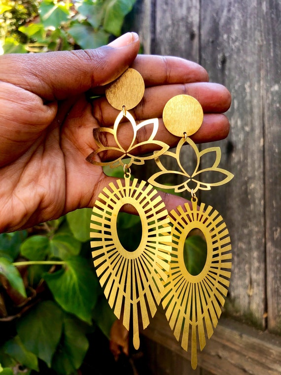 Rebirth into Beauty - Lotus Flower Marquise  Statement Earrings - Brass Beauties