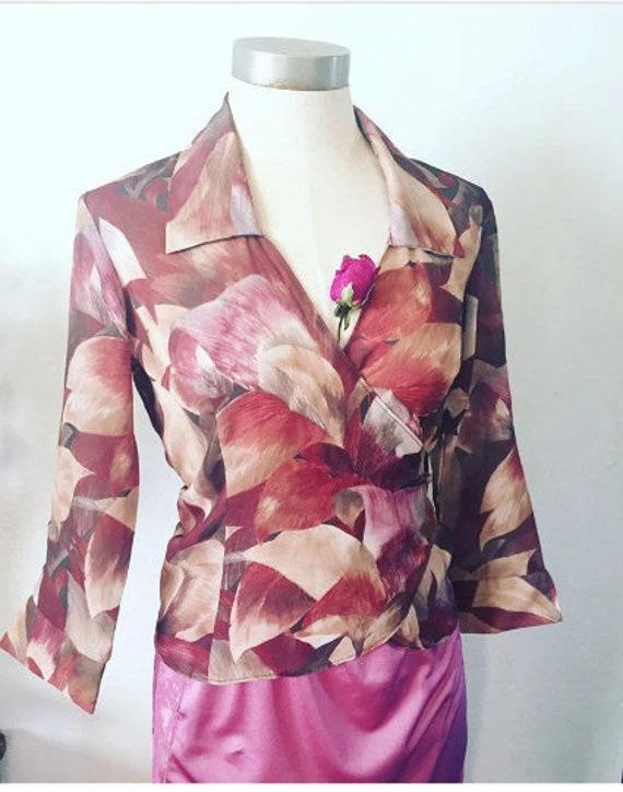90's Vintage Pink Floral Wrap Blouse Small/Medium