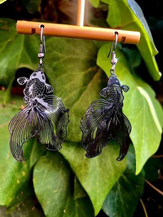 Koy ~  Black Fish Earrings / Black Koi Fish Earrings / Black Fish Earrings