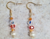 Gold filled Swarovski Crystal and glass pearl earrings