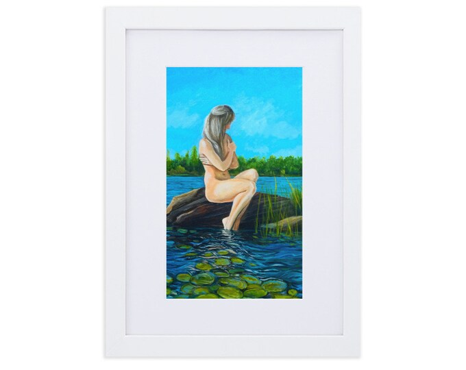 Featured listing image: The Beautiful Human  Mermaid For A Day White Framed Matte Paper Fine Art Print With Mat