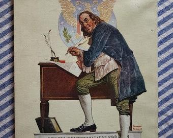 "14x11/"" Americana NORMAN ROCKWELL 1943 Painting MISS LIBERTY Classic ART"