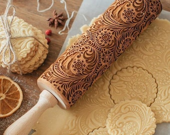 Embossing roller for cookies Leaves Acorns Engraved rolling pin Oak Small rolling pin Maple Wooden carved rolling pin
