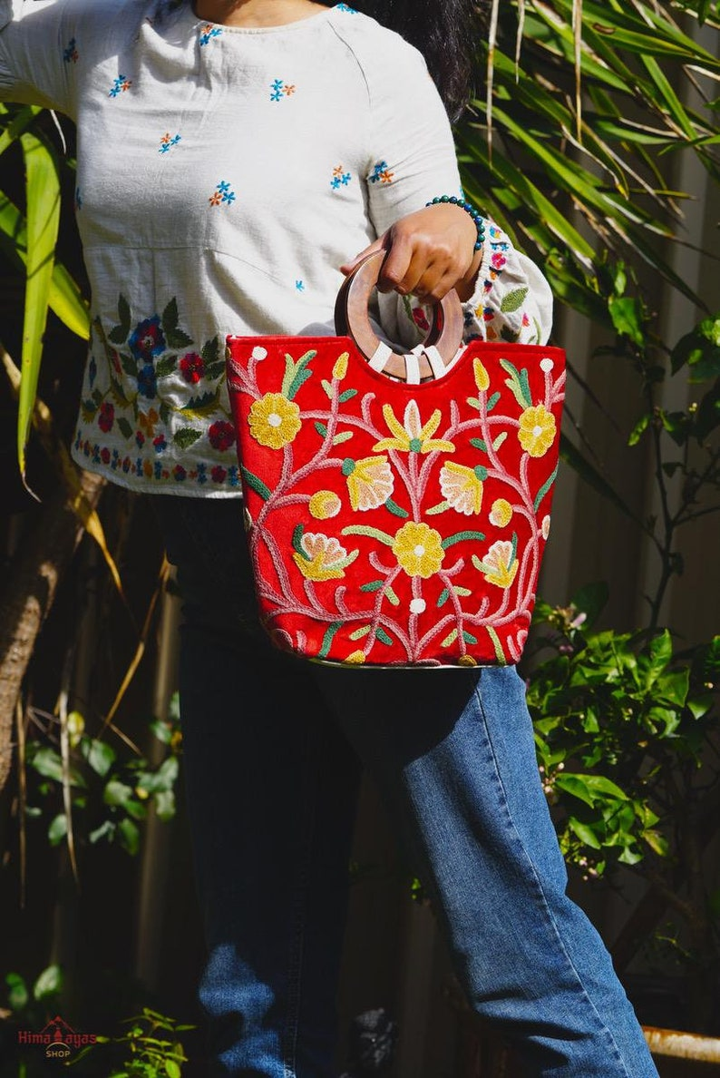 Best gift for her Women\u2019s Hand bag Stylish Tote hand bag with Floral embroidery Bridesmaid colorful handbag