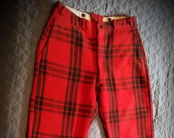 e198635ed0602 Vintage 1950s JC Higgins 100% Virgin Wool hunting pants. Red Plaid