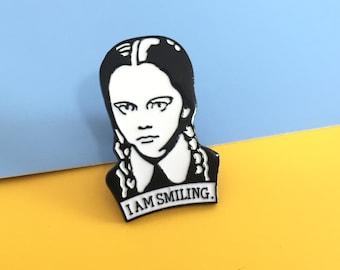Wednesday Addams pin I am Smiling girl funny pins display kawaii Badge pin anime pin hard enamel pins for backpacks Jacket Gift for her