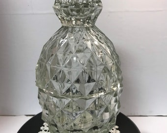 Vintage 2 Piece Jeanette Clear Glass Windsor Diamond Pineapple Lidded Candy/Relish/Nut Dish with Original Box